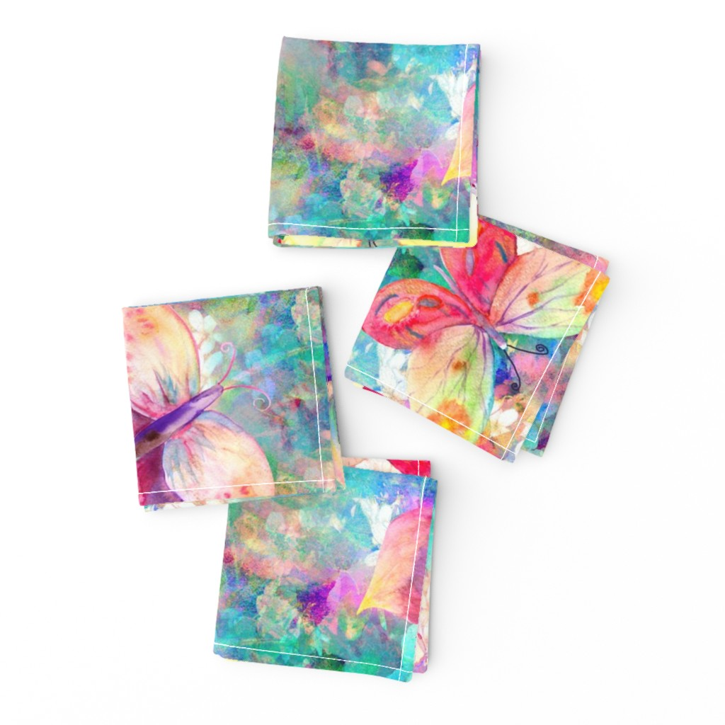 Frizzle Cocktail Napkins featuring BUTTERFLIES ON FLOWERS FIELDS TURQUOISE AQUA by paysmage