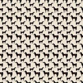 Arabian Horse Standing One-Way Repeat - Bay Horses with Cream Background