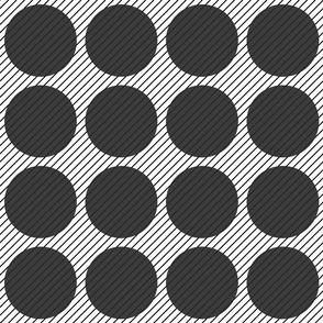 Black circles angled stripe geometric
