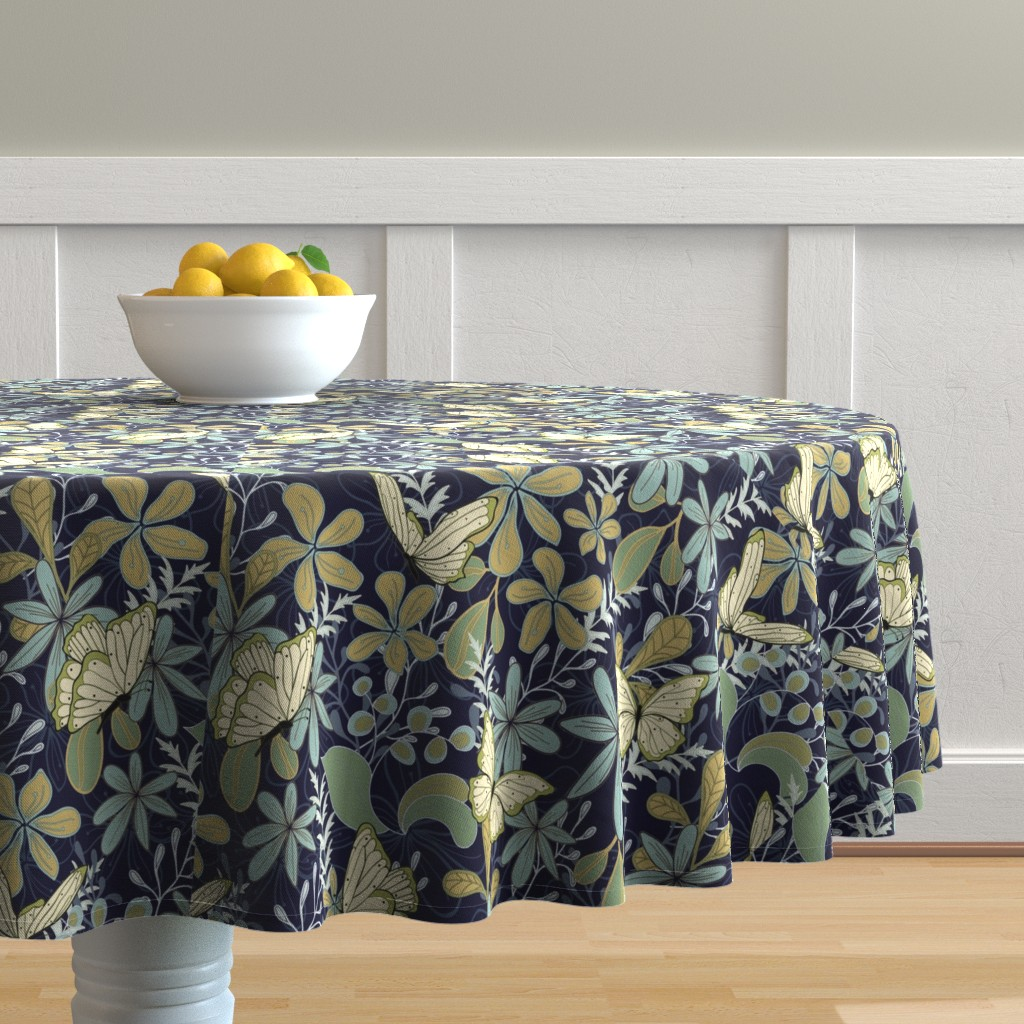 Malay Round Tablecloth featuring Papillon at play by creative_catmint