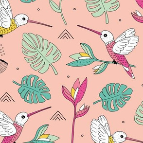 Little hummingbirds and birds of paradise tropical rainforest leaves summer mustard mint pink and yellow girls