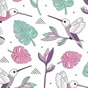 Little hummingbirds and birds of paradise tropical rainforest leaves summer mint lilac purple girls