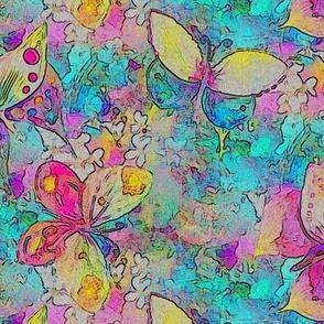 medium scale COMICS BUTTERFLIES ON FLOWERS FIELDS TURQUOISE AQUA PSMGE