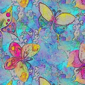 medium scale COMICS BUTTERFLIES ON FLOWERS FIELDS  PERIWINKLE BLUE AQUA  PAYSMAGE