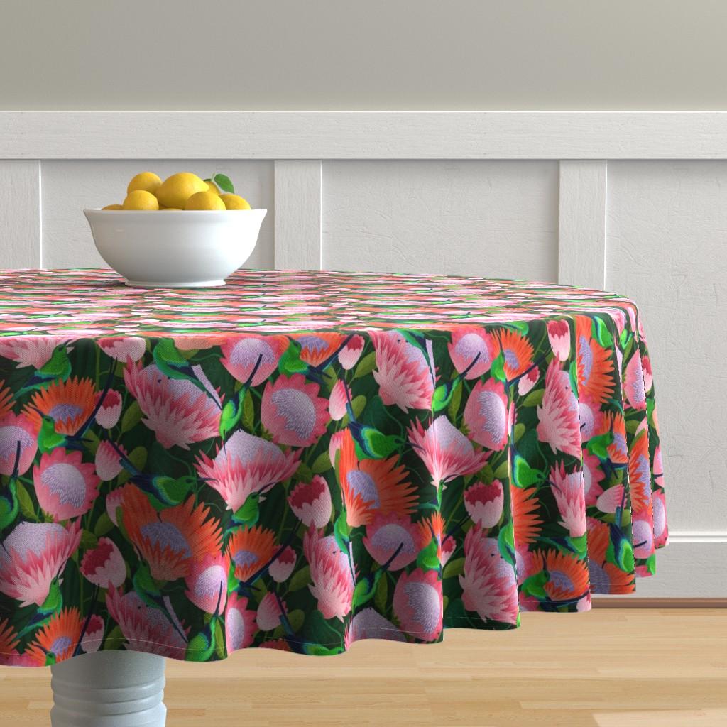 Malay Round Tablecloth featuring malachite sunbirds by michaelzindell