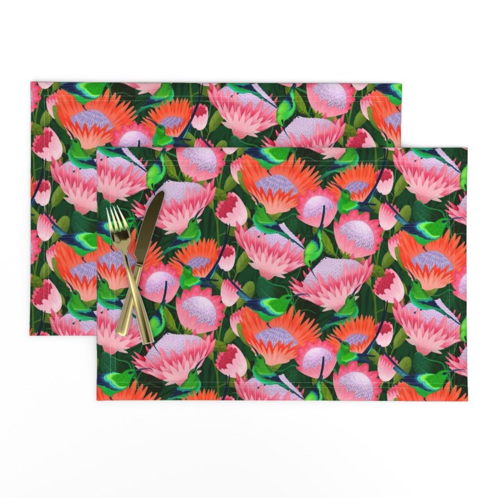 Lamona Cloth Placemats featuring malachite sunbirds by michaelzindell
