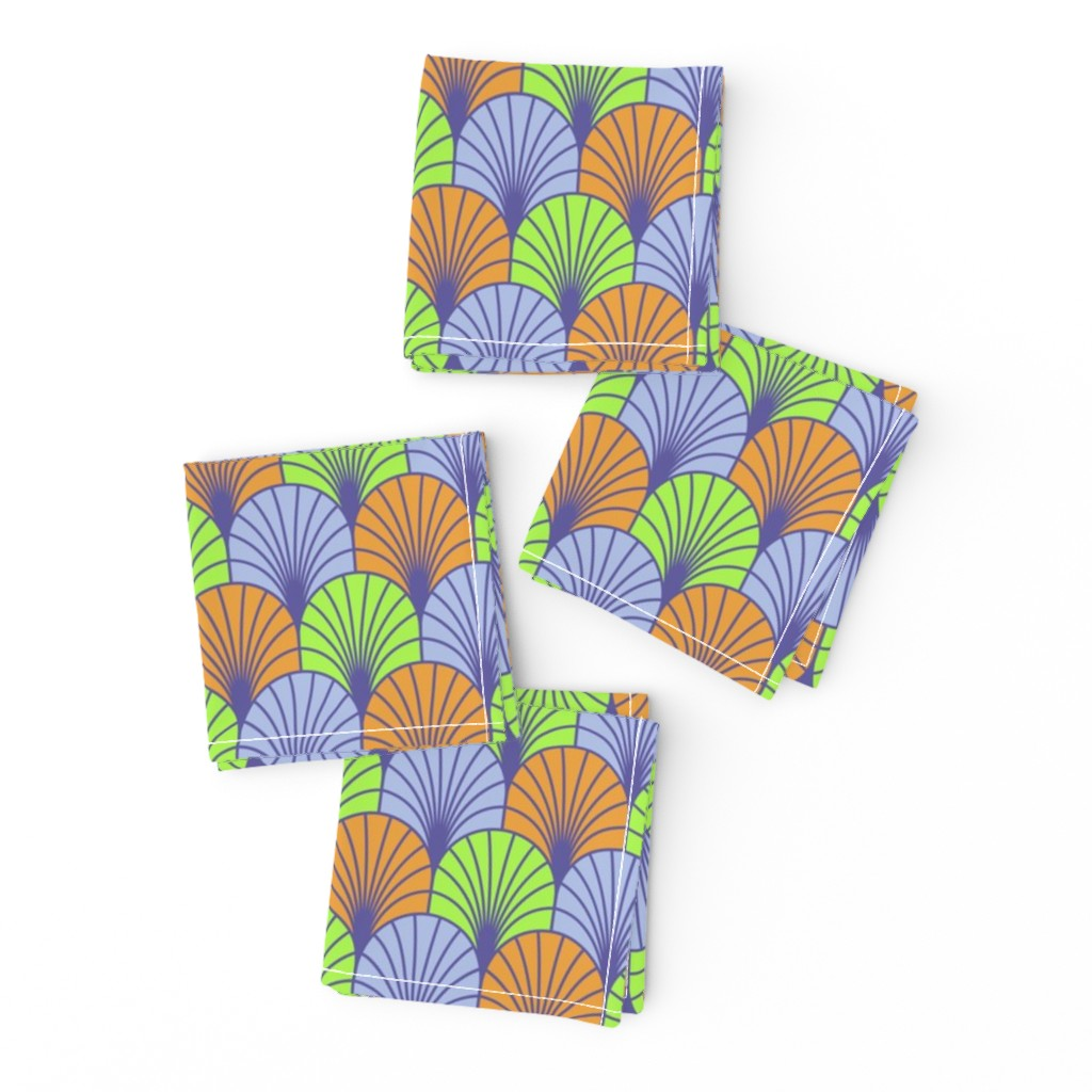 Frizzle Cocktail Napkins featuring Fans Lavender Lime Clementine by dunnspun