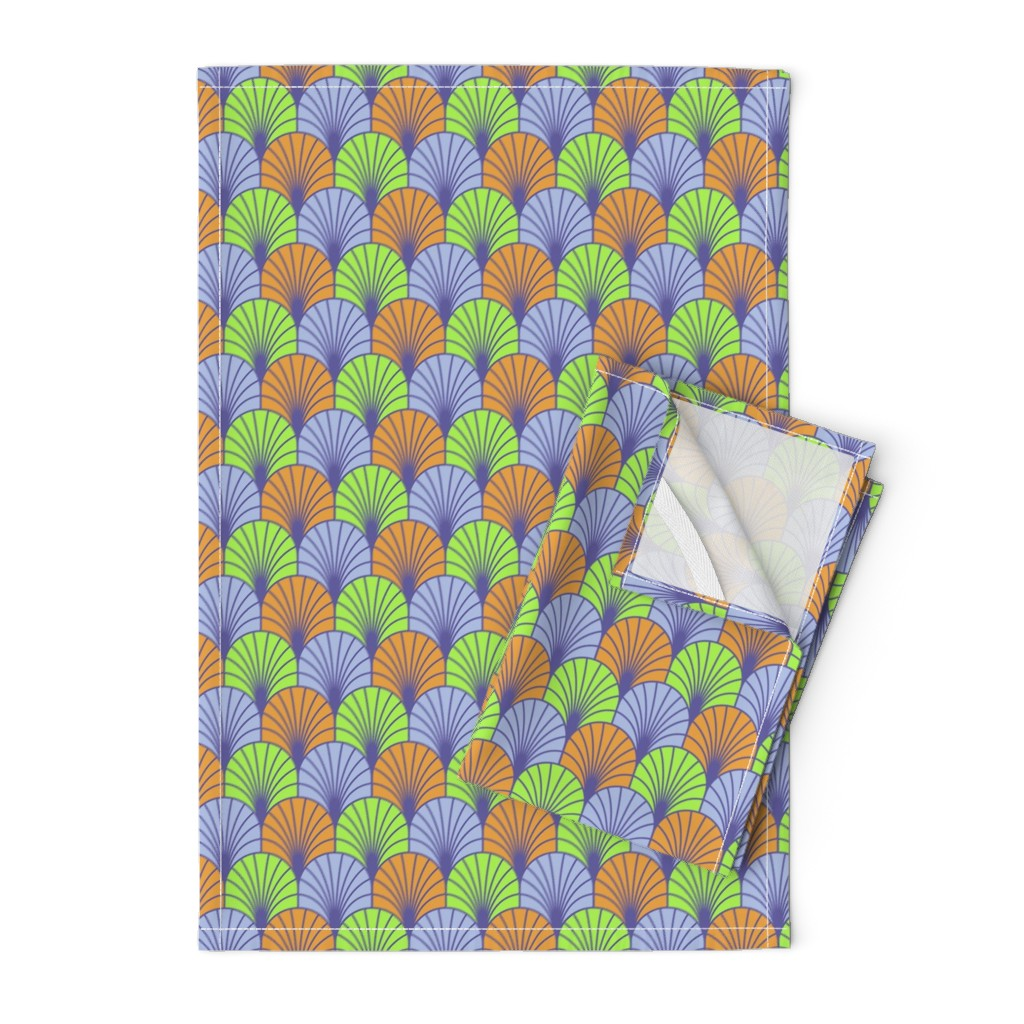 Orpington Tea Towels featuring Fans Lavender Lime Clementine by dunnspun
