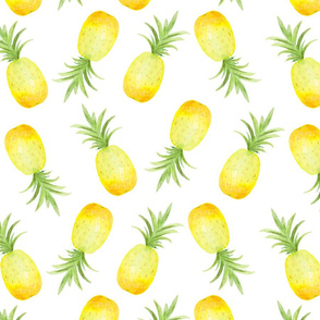 Watercolor Pineapple on White