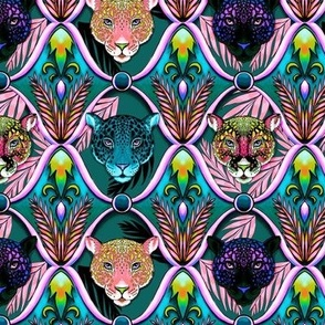 neon jungle jaguars ogee in after dark, SMALL SCALE