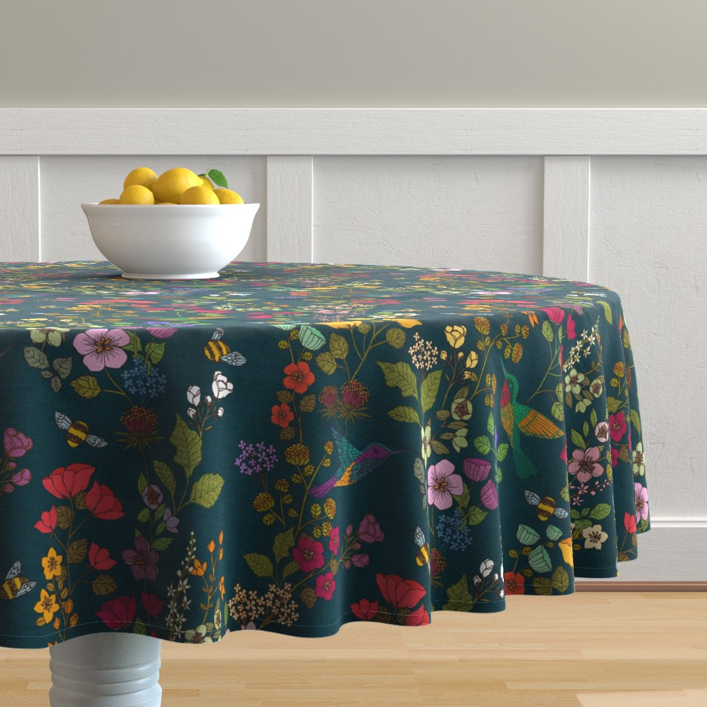 Malay Round Tablecloth featuring Hummingbirds and Bees {Forest} by ceciliamok