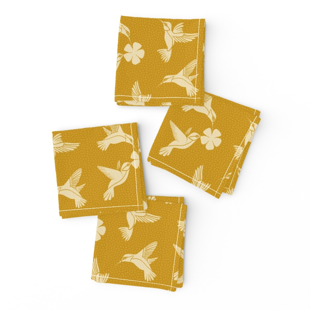 Frizzle Cocktail Napkins featuring Hummingbirds in Flight - Mustard by thewellingtonboot