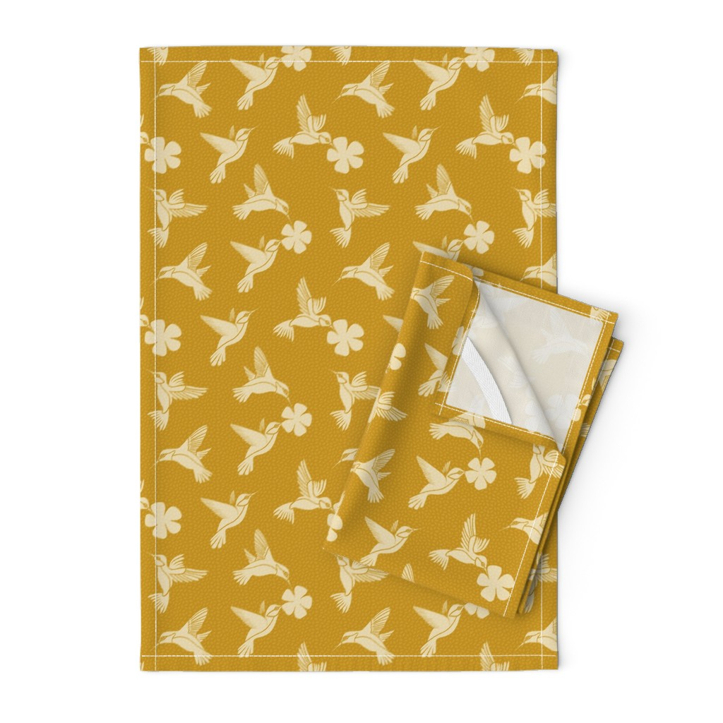 Orpington Tea Towels featuring Hummingbirds in Flight - Mustard by thewellingtonboot