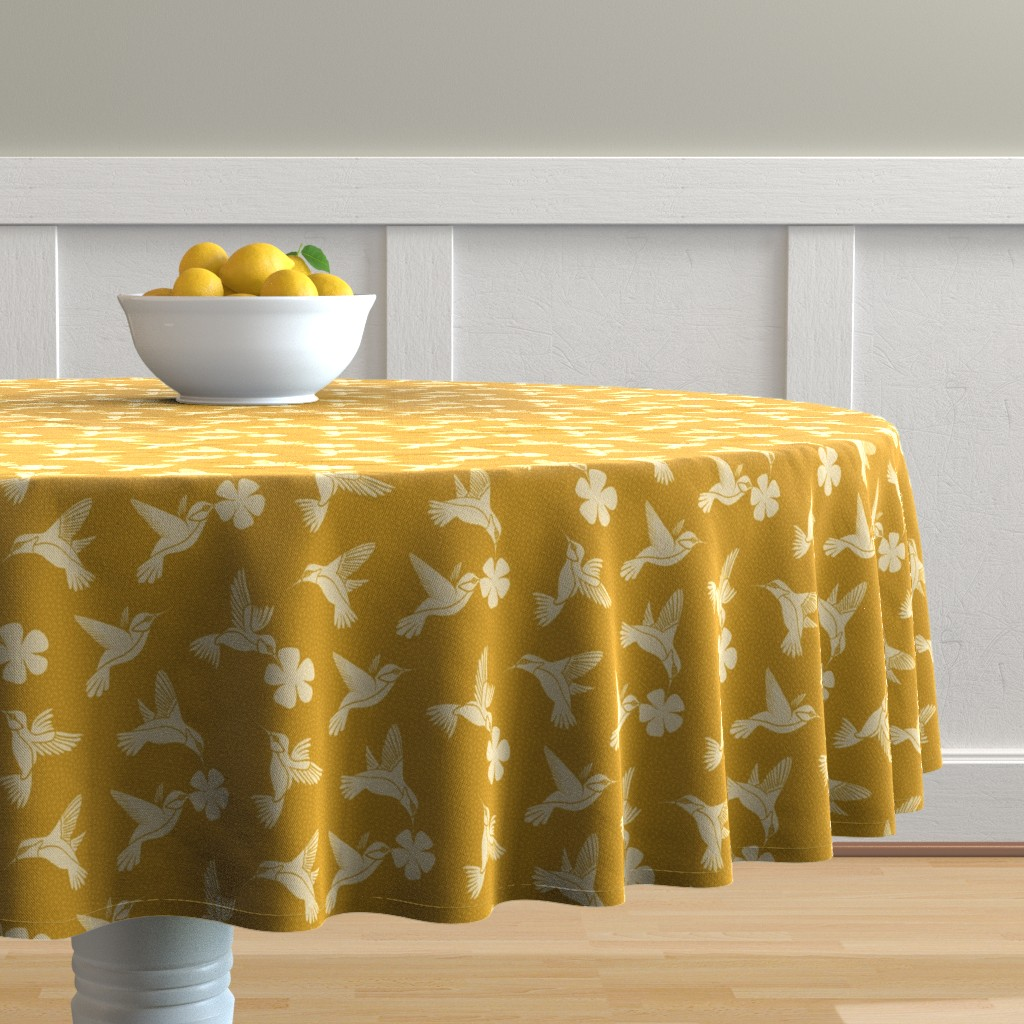 Malay Round Tablecloth featuring Hummingbirds in Flight - Mustard by thewellingtonboot