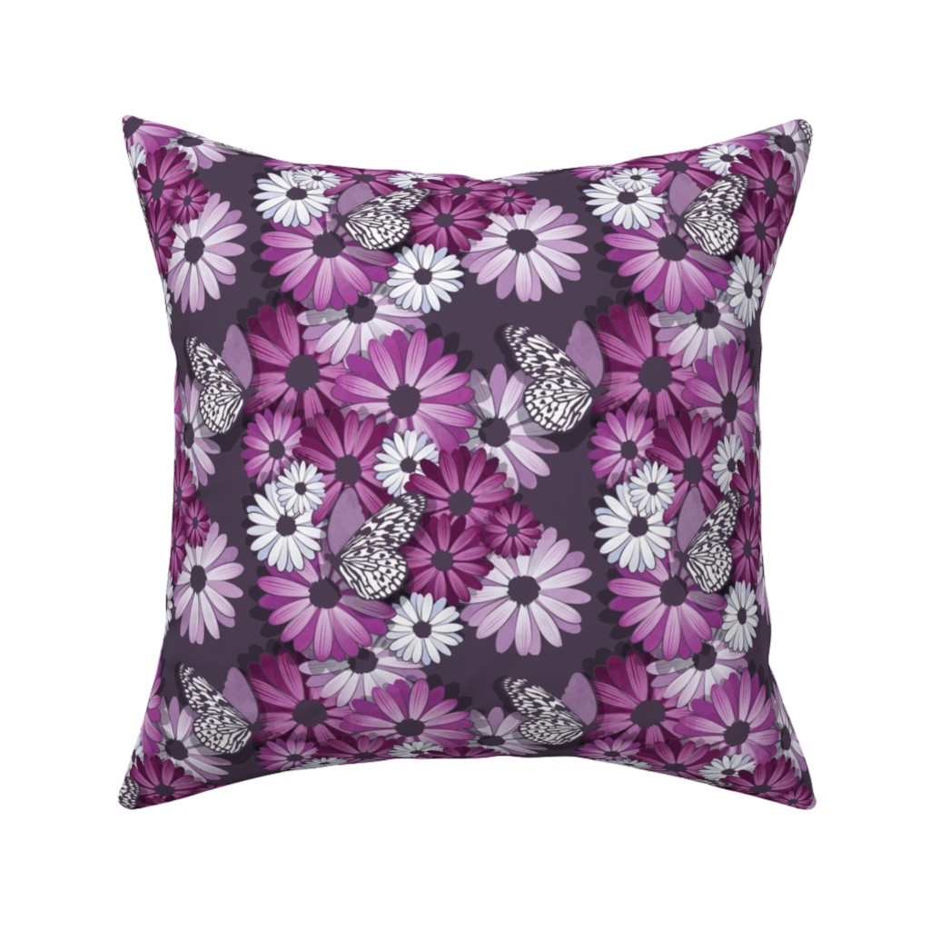 Catalan Throw Pillow featuring African Daisy Spring Floral // small scale // violet by selmacardoso