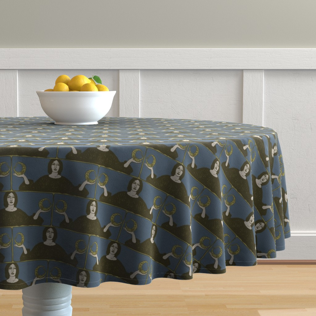 Malay Round Tablecloth featuring There is a Balance | Camelot by lochnestfarm