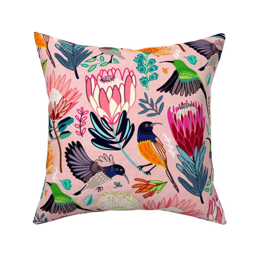 Catalan Throw Pillow featuring Sunbirds & Proteas (Large Version) by tigatiga