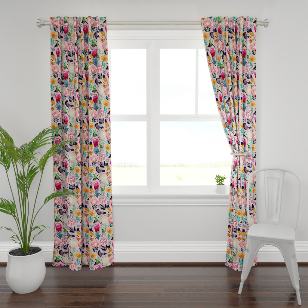 Plymouth Curtain Panel featuring Sunbirds & Proteas (Large Version) by tigatiga