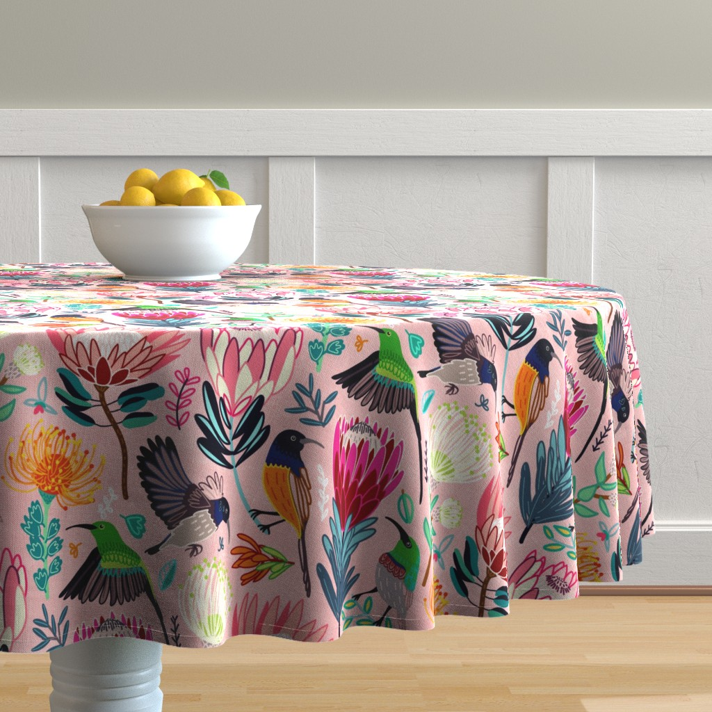 Malay Round Tablecloth featuring Sunbirds & Proteas (Large Version) by tigatiga