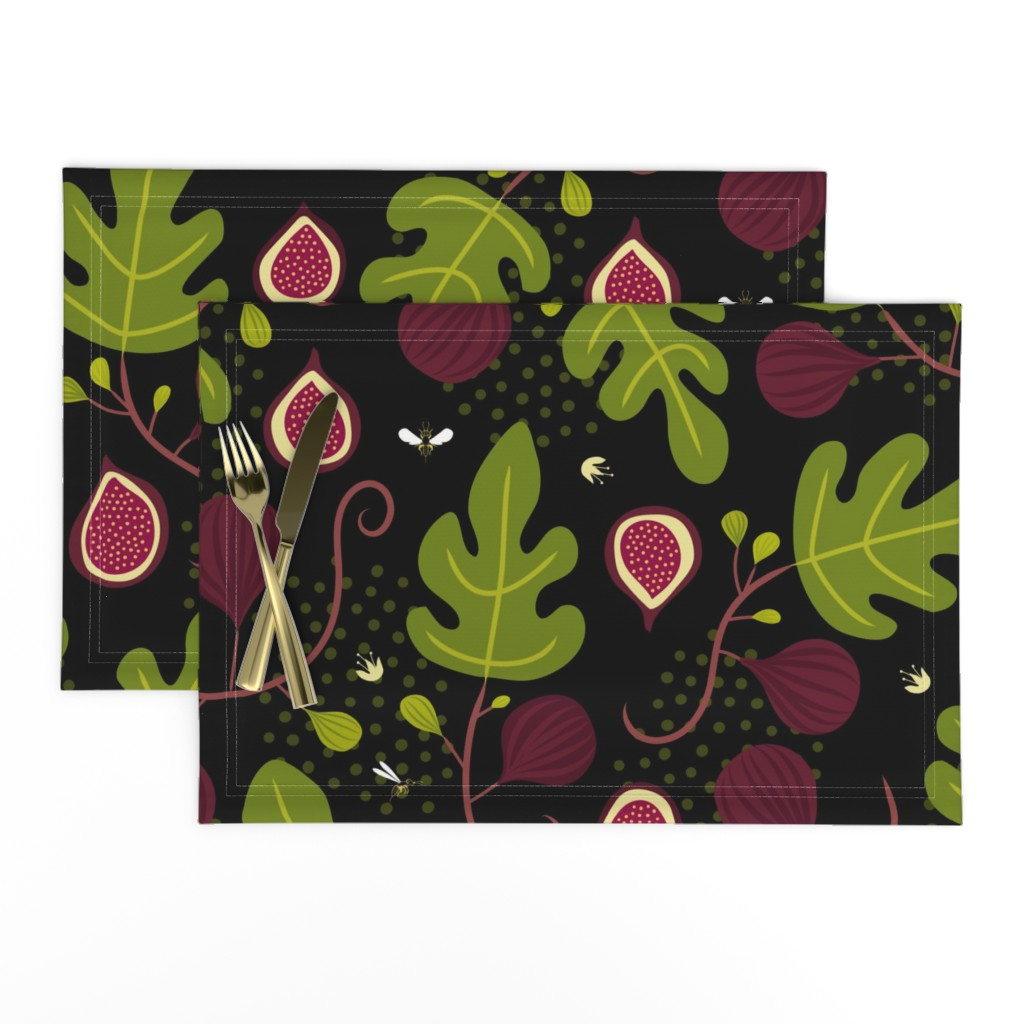 Lamona Cloth Placemats featuring Figs & Wasps by lellobird