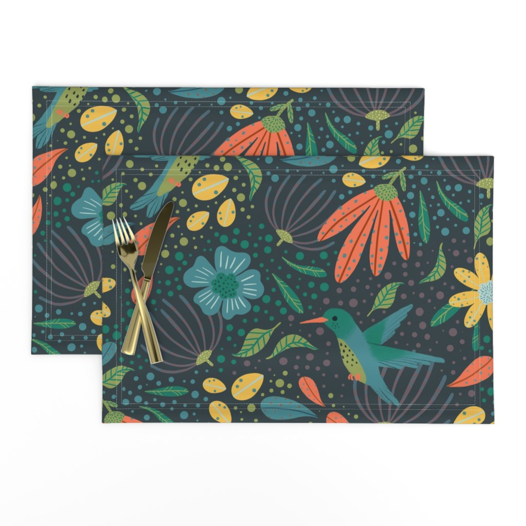 Lamona Cloth Placemats featuring Hummingbird Harmony by breetrulove