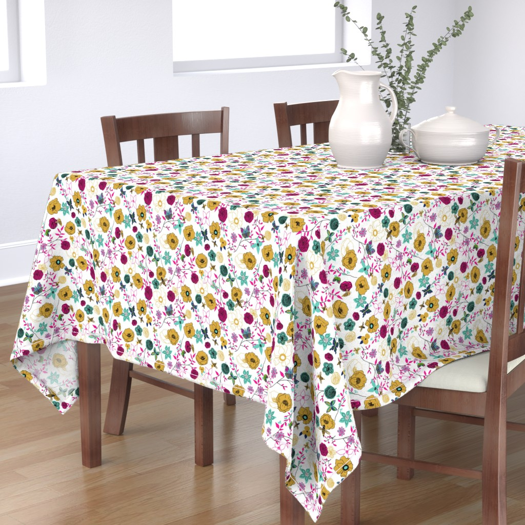 Bantam Rectangular Tablecloth featuring Bees and Butterflies gold by stasiajahadi