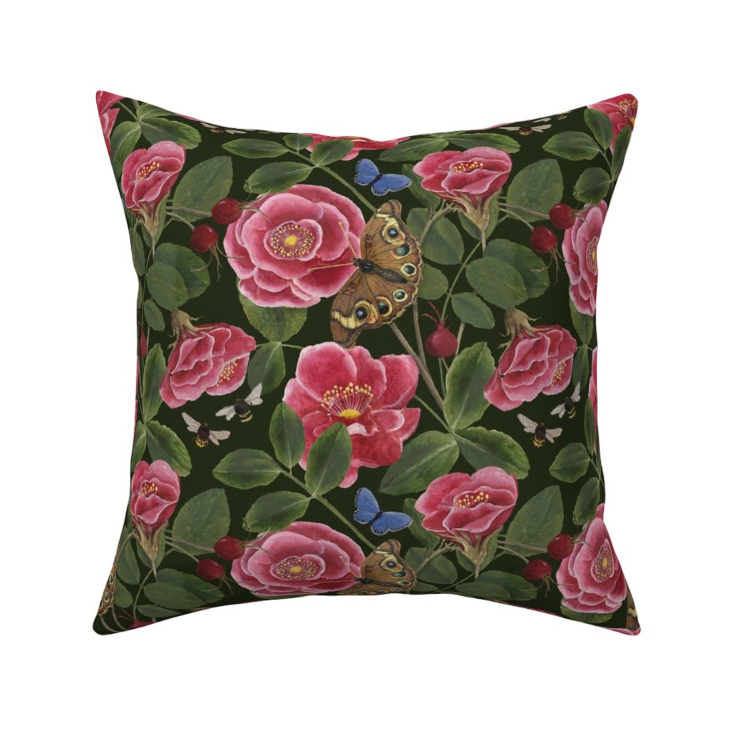 Catalan Throw Pillow featuring NANTUCKET ROSE HIPS  by nadinewestcott