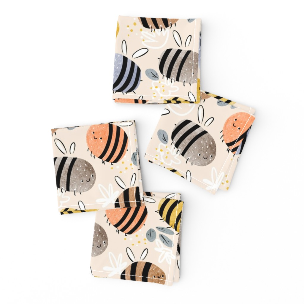 Frizzle Cocktail Napkins featuring watercolor bees pattern by daria_nokso