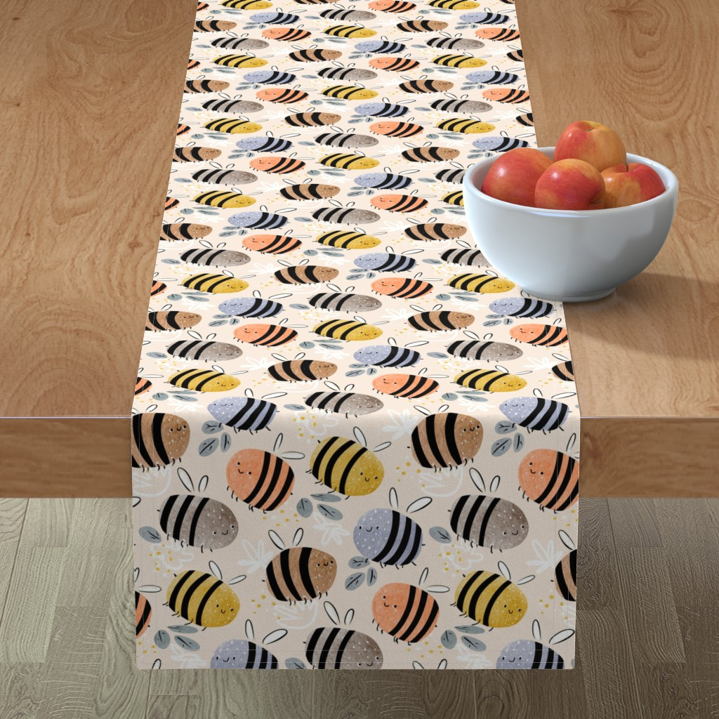 Minorca Table Runner featuring watercolor bees pattern by daria_nokso