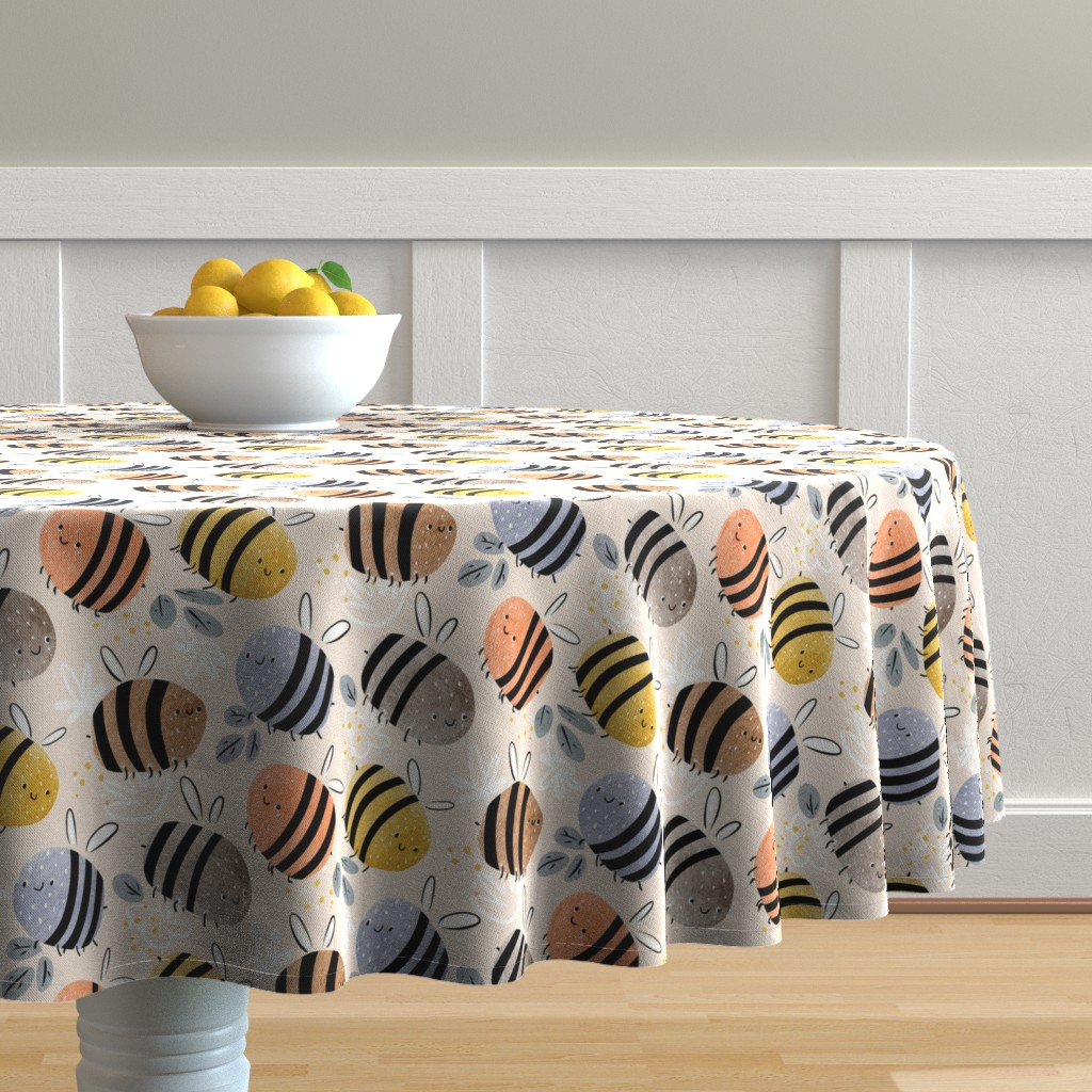 Malay Round Tablecloth featuring watercolor bees pattern by daria_nokso