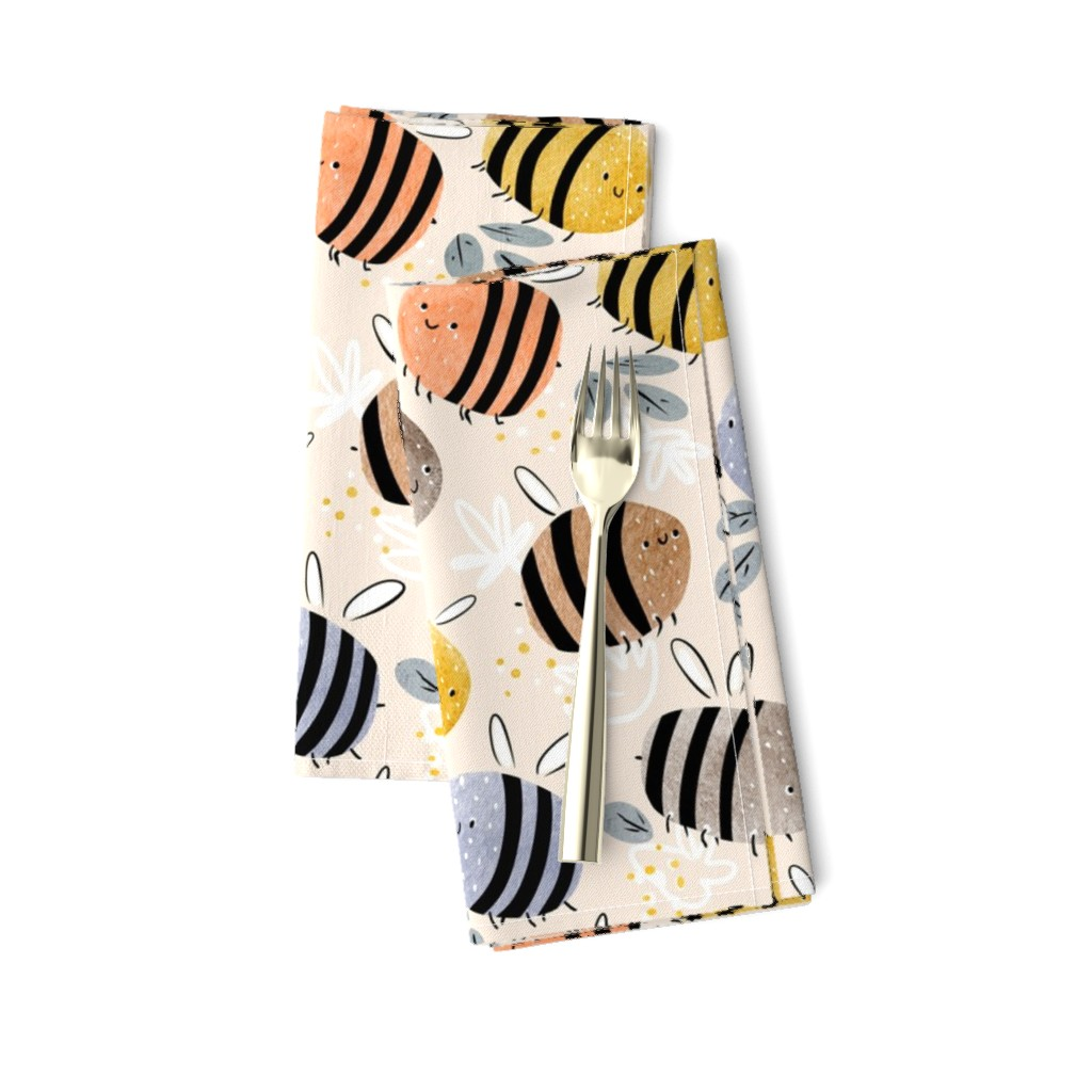 Amarela Dinner Napkins featuring watercolor bees pattern by daria_nokso