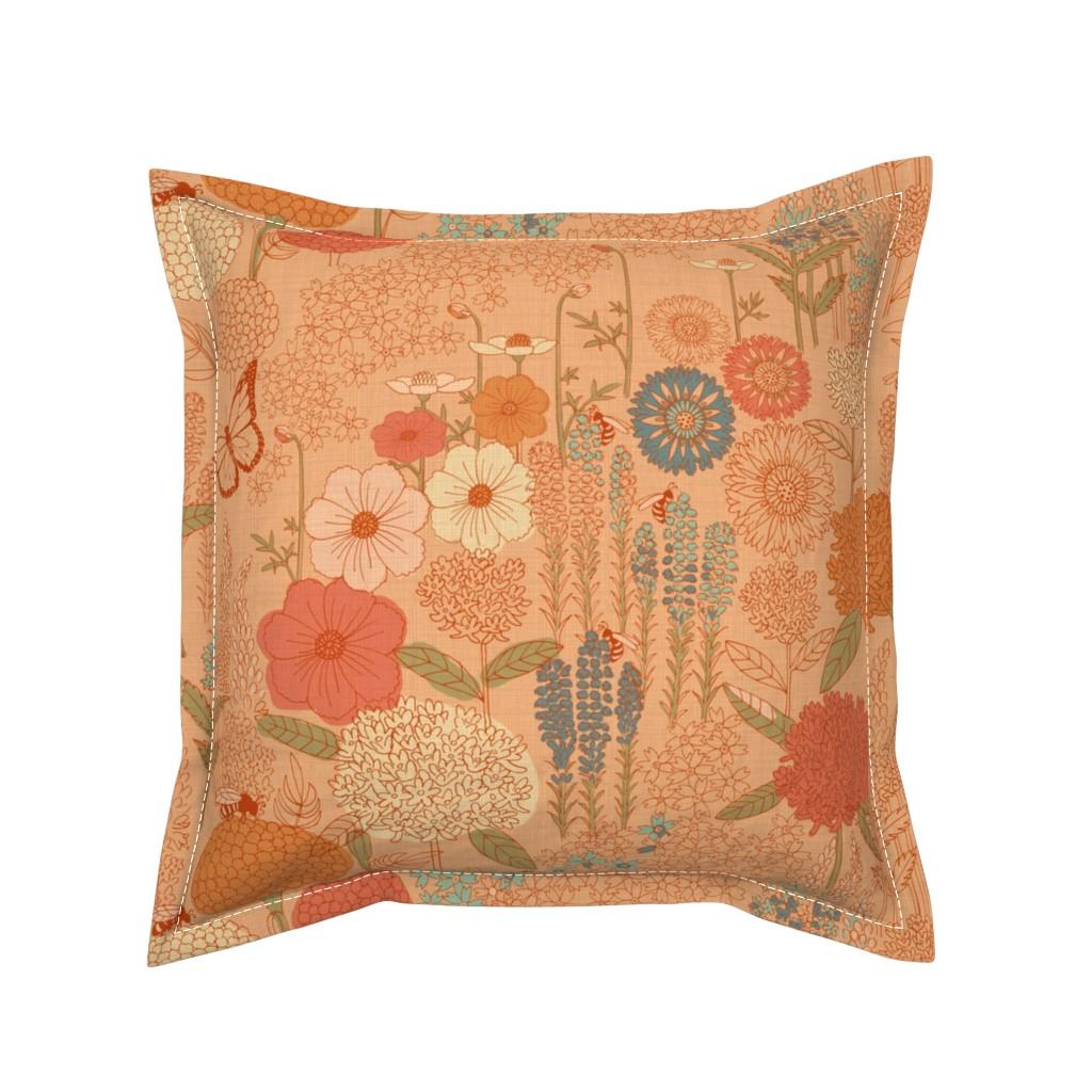 Serama Throw Pillow featuring Bee Garden by gartmanstudio