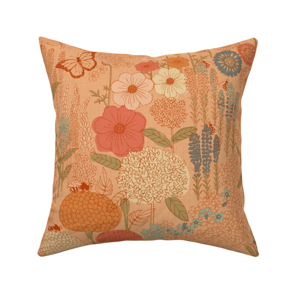 Catalan Throw Pillow featuring Bee Garden by gartmanstudio