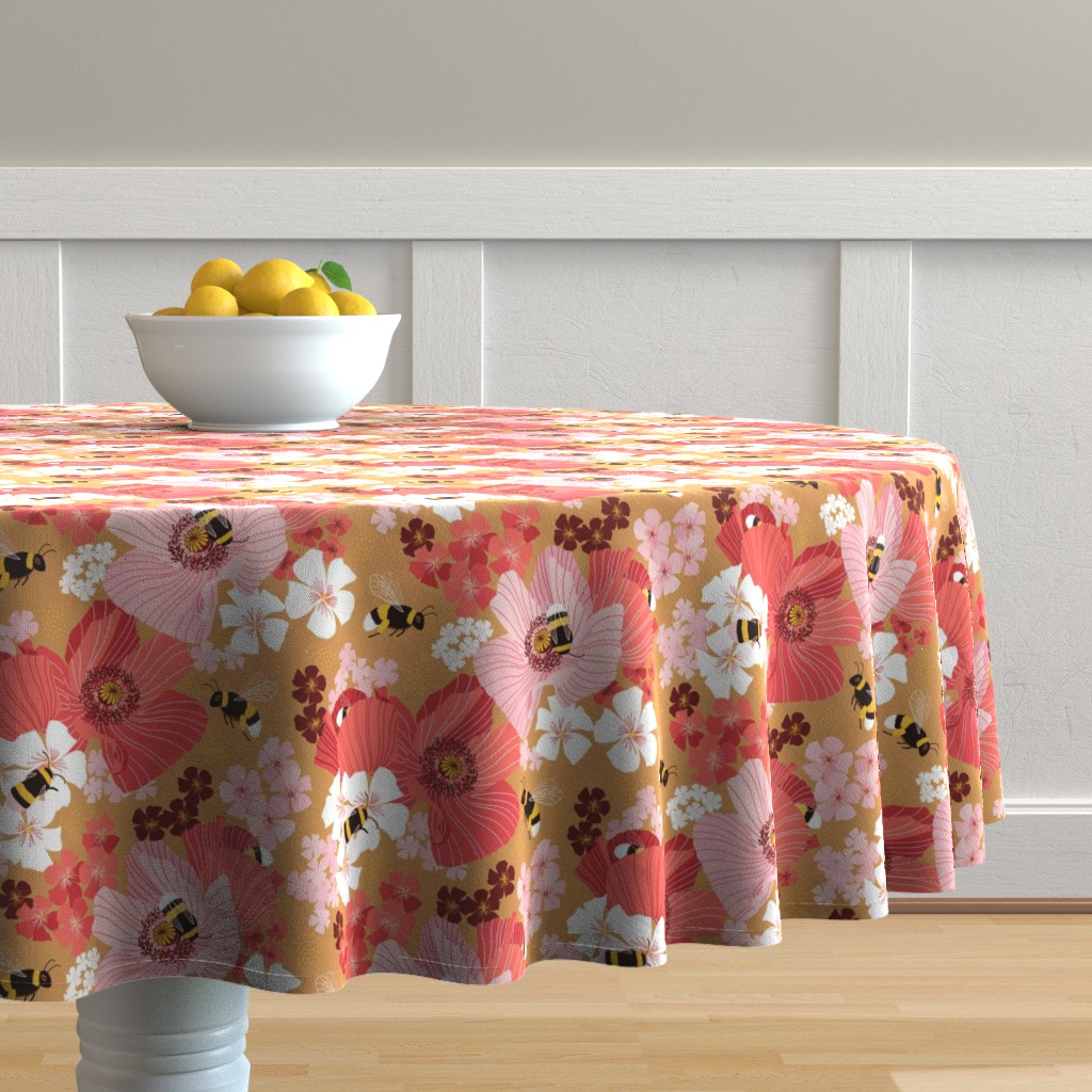 Malay Round Tablecloth featuring Bumblebees and pollen by nadyabasos