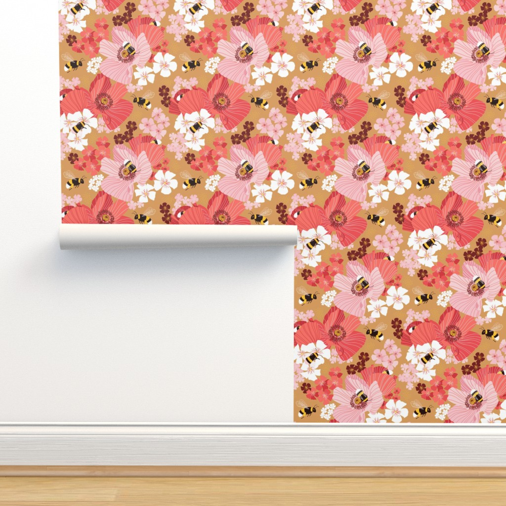 Isobar Durable Wallpaper featuring Bumblebees and pollen by nadyabasos