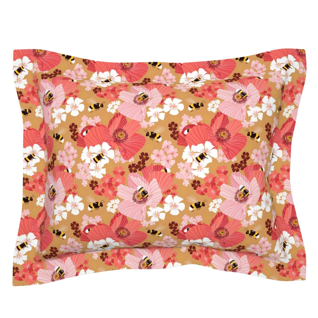 Sebright Pillow Sham featuring Bumblebees and pollen by nadyabasos