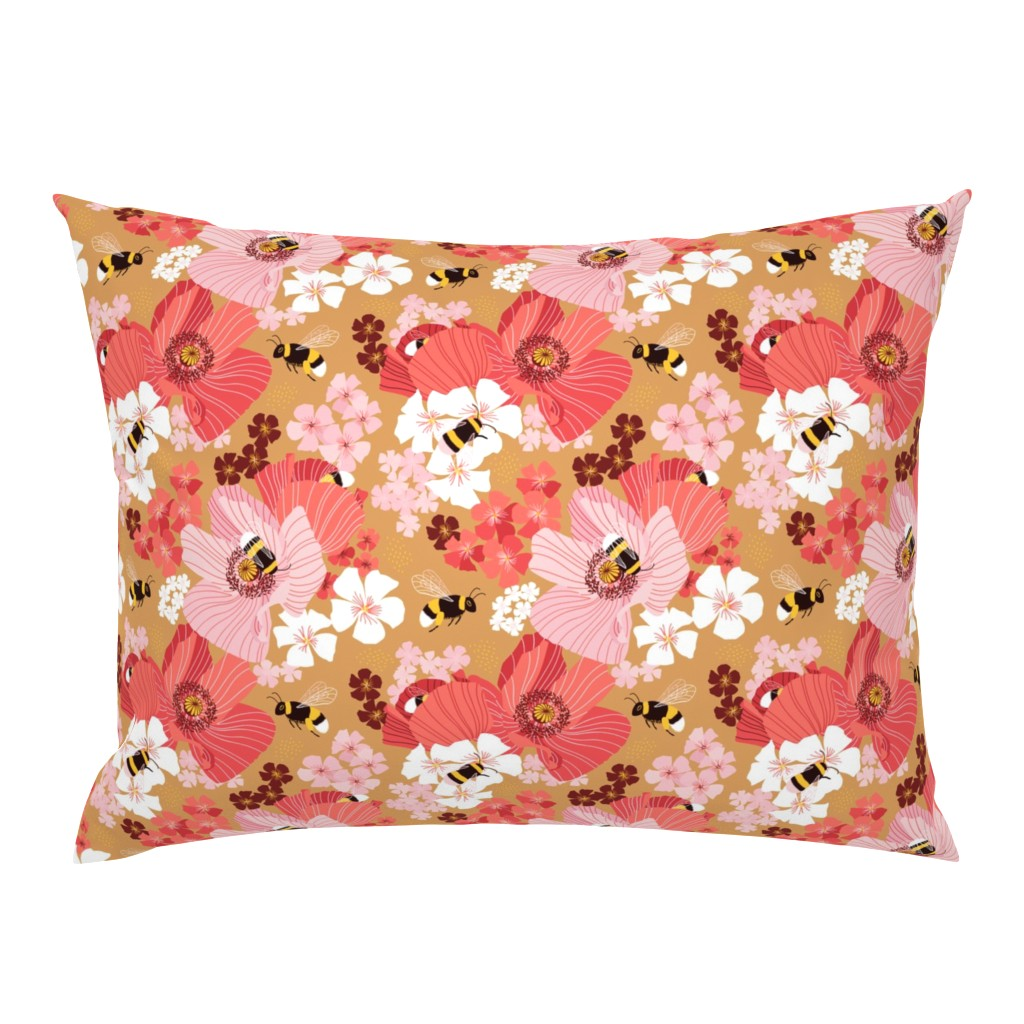 Campine Pillow Sham featuring Bumblebees and pollen by nadyabasos