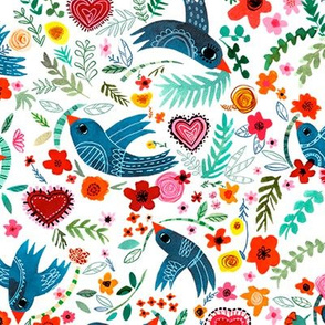 Folk birds and colorful flowers