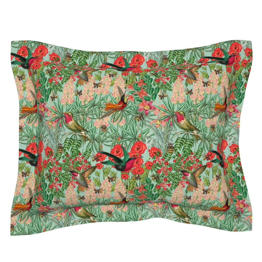 Sebright Pillow Sham featuring Birds and Bees in Floralville by winkeltriple