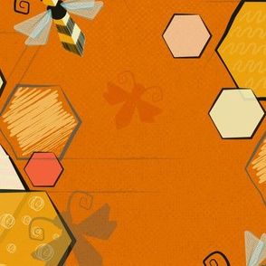 Mid century modern bees - Orange