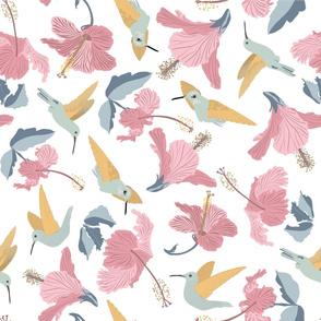 Hummingbirds and Hibiscus