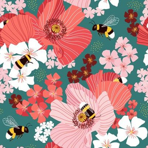 Bumblebees and pollen on teal