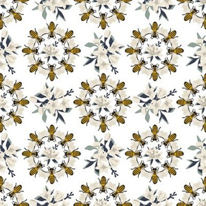 Bee Medallion - White
