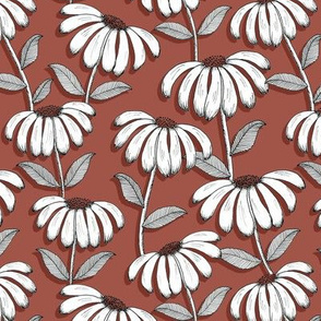Wandering Daisies - rust red
