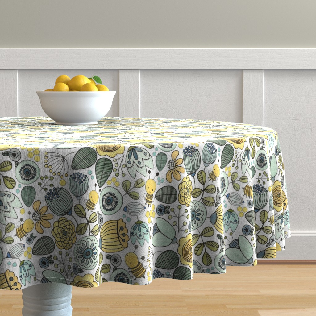Malay Round Tablecloth featuring Busy Bees in Flowers by bluebirdcoop