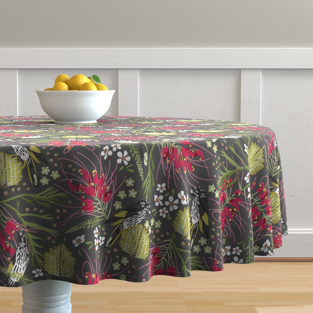Malay Round Tablecloth featuring New Holland Honeyeater by cjldesigns