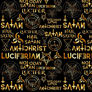 Satanic symbols and text on gold