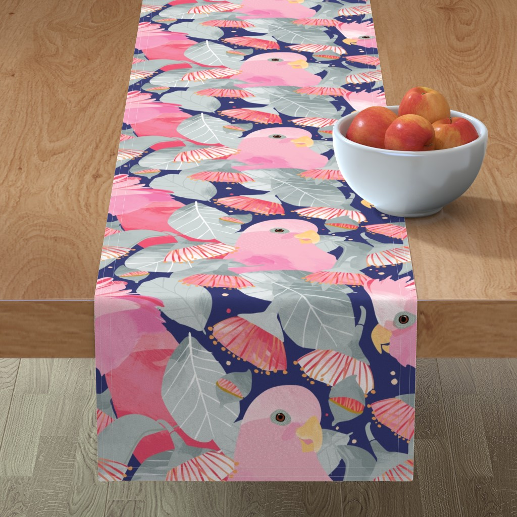 Minorca Table Runner featuring Rose Mallee gum with Galahs by Mount Vic and Me by mountvicandme