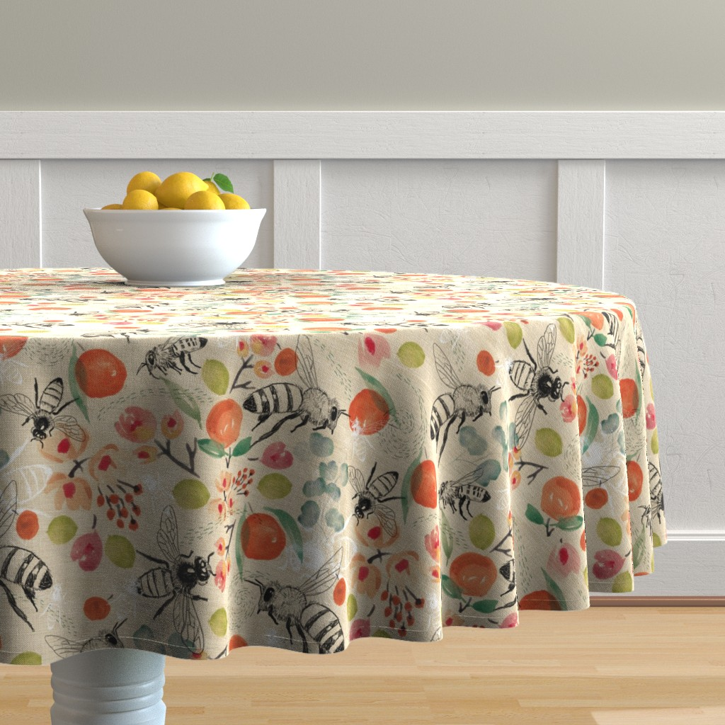 Malay Round Tablecloth featuring Pollination by laurawrightstudio