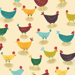 Funny Chickens, Cute Colored Playful Birds, Nature Life
